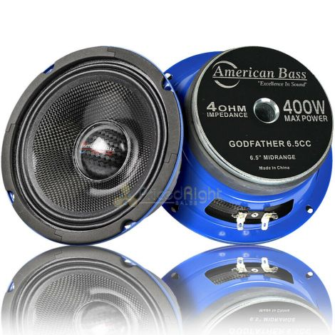 "American Bass 6.5"" Mid Range Speakers 400 Watts Max 4 Ohm Godfather 6.5CC Pair"
