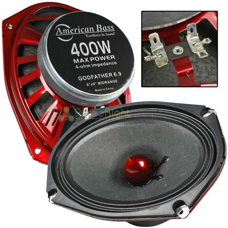 "American Bass 6x9"" Mid Range Speakers 400 Watts Max 4 Ohm Godfather 6.9 Series"